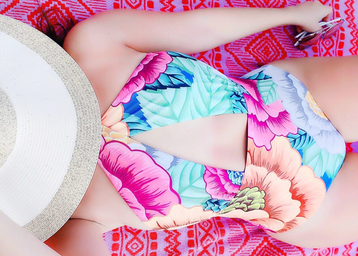 mara hoffman colorful swimsuit, one piece swimsuit