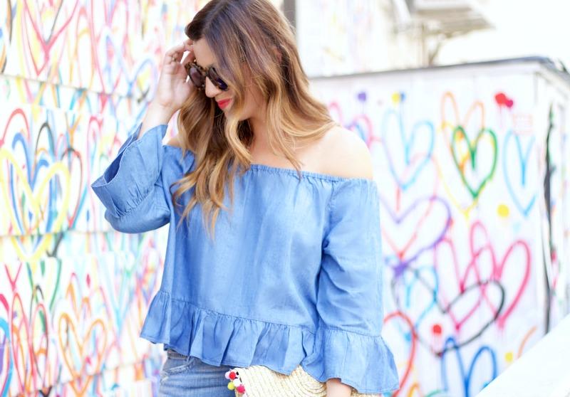 Fashion Blogger Jaime Cittadino wearing Goodnight Macaroon off shoulder ruffled chambray top in NYC Love Wall