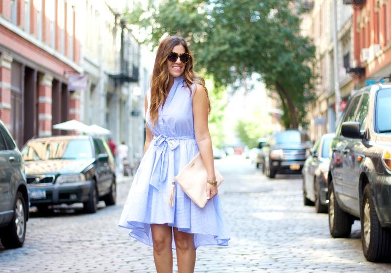 blue white stripe button down dress, chicwish dress