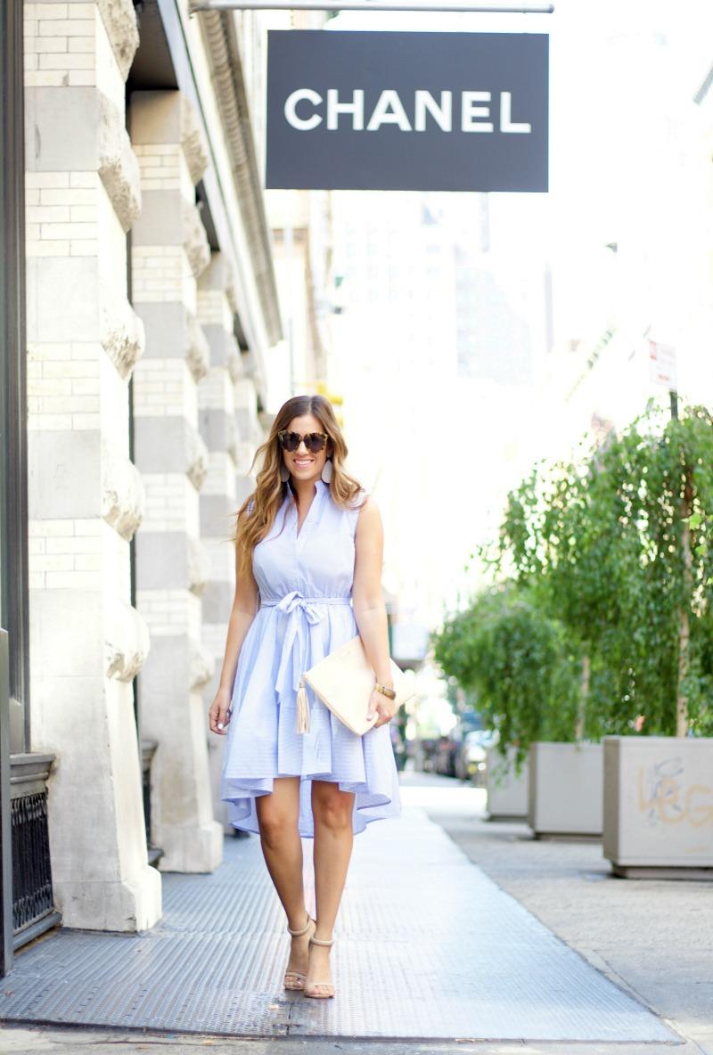 chicwish blue striped dress
