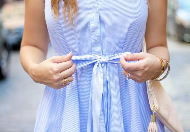 striped button down dress