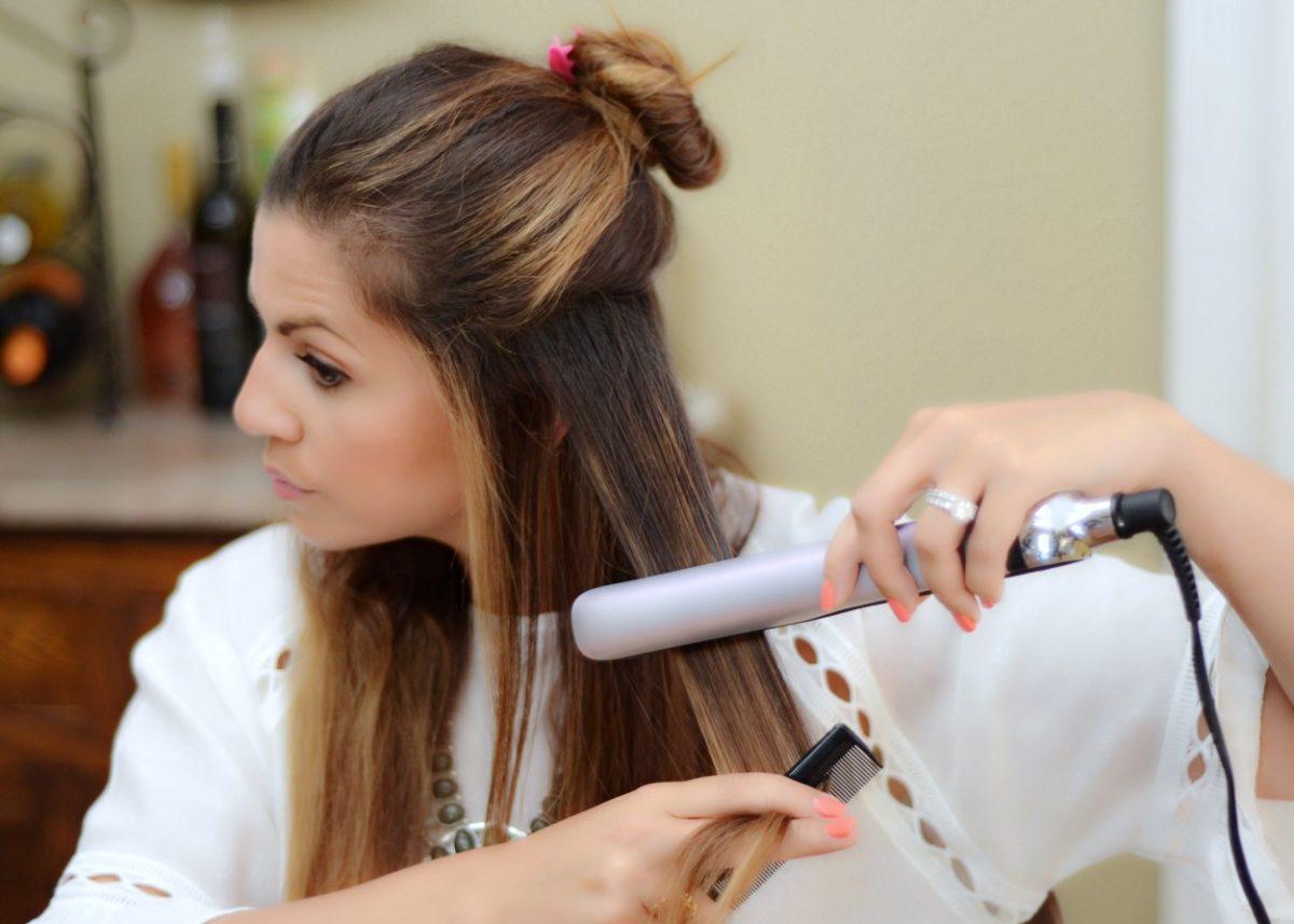 ghd platinum styler straight hair tutorial