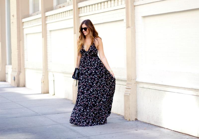 floral maxi dress, black floral maxi dress, abercrombie maxi dress
