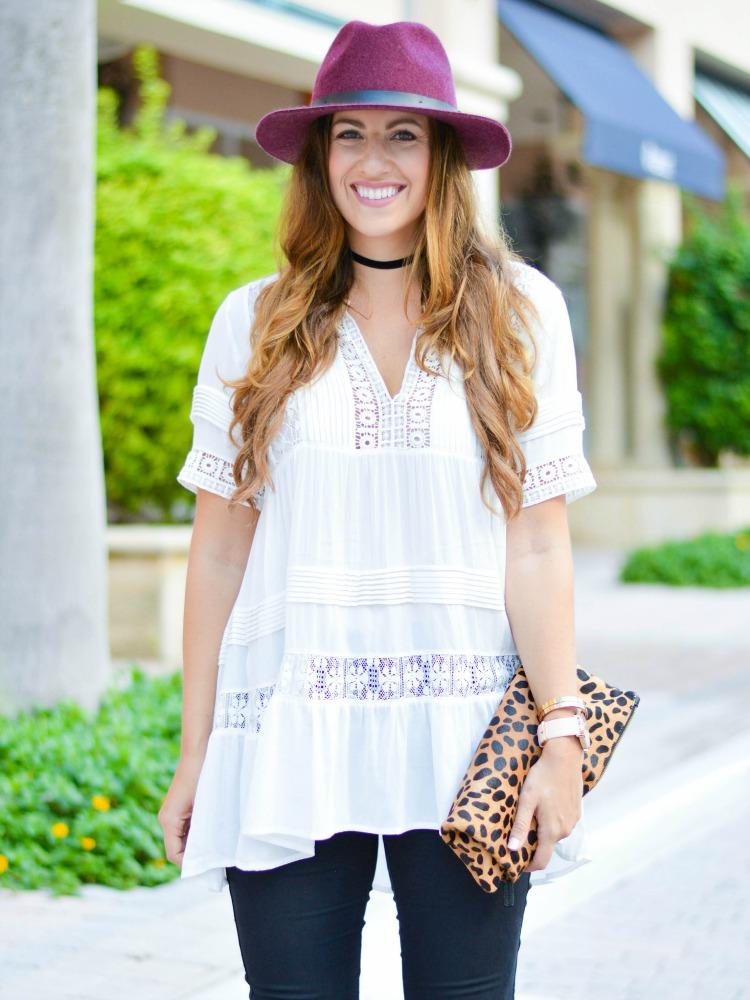 Anthropologie tiered lace tunic on fashion blogger Jaime Cittadino