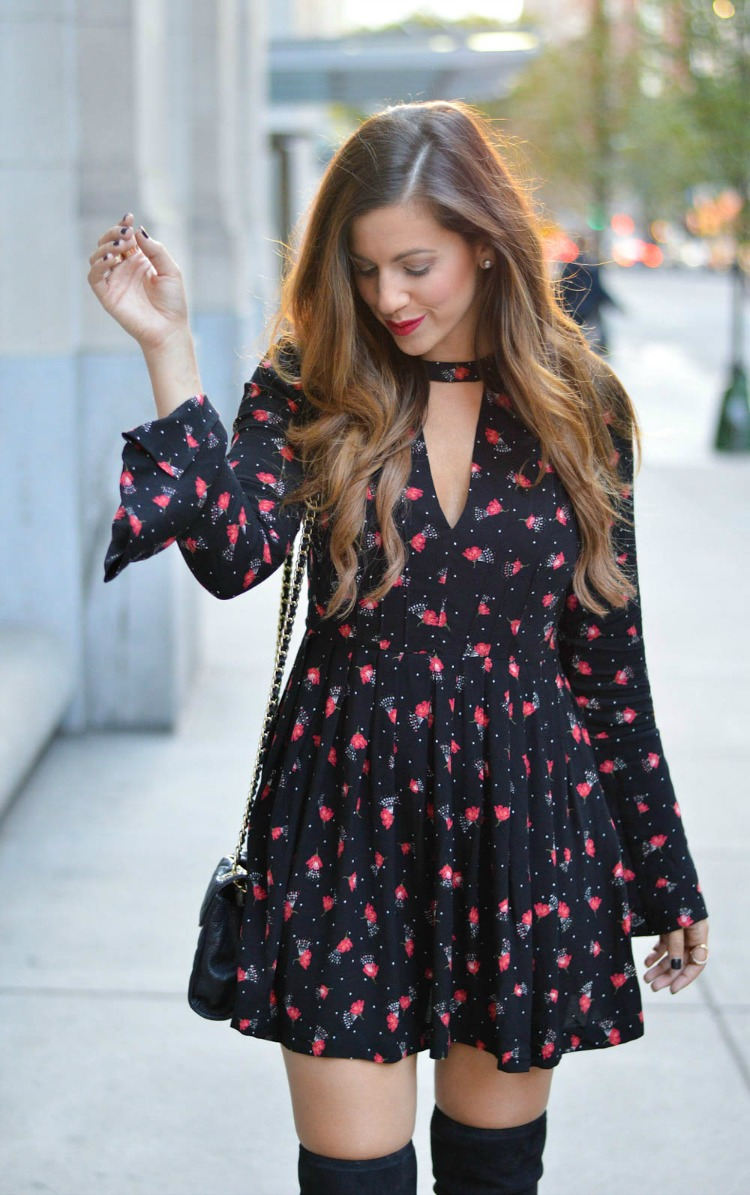 Free People Tegan Printed Mini Dress styled by fashion blogger, Jaime Cittadino of Sunflowers and Stilettos