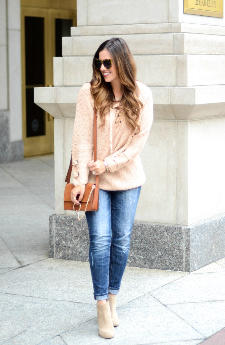 Camel Lace Up Sweater, Chicwish Lace Up Sweater, The It Sweater This Season