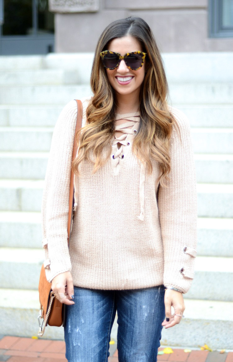 Lace Up Sweater, Best Sweater This Season, Fashion Blogger Jaime Cittadino of Sunflowers and Stilettos