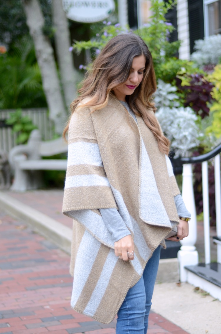 Style Blogger, Jaime Cittadino wearing an ILY Couture Cape in Nantucket