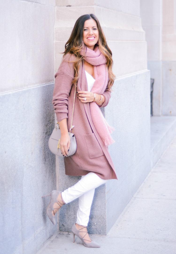 Mauve Cardigan, Mauve Scarf, White Jeans for Fall, Chloe Drew dupe, Fashion Blogger Jaime Cittadino of Sunflowers and Stilettos