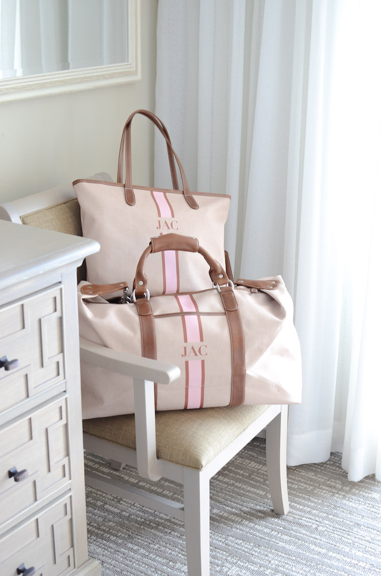 Barrington Gifts falls tripe monogram travel bags