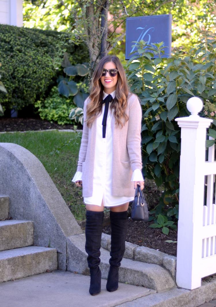 Tularosa 'Shea' Bow Shirtdress worn by fashion blogger, Jaime Cittadino of Sunflowers and Stilettos in Nantucket