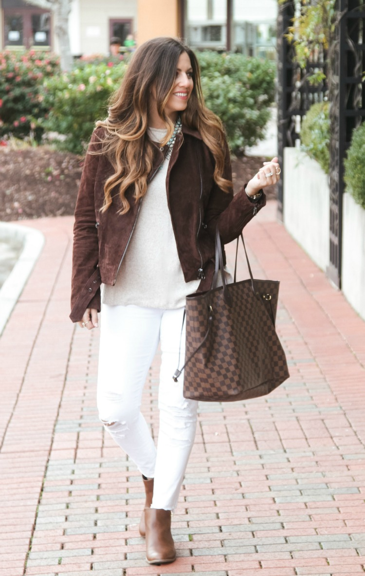 Suede Moto Jacket, White Jeans, Brown Booties