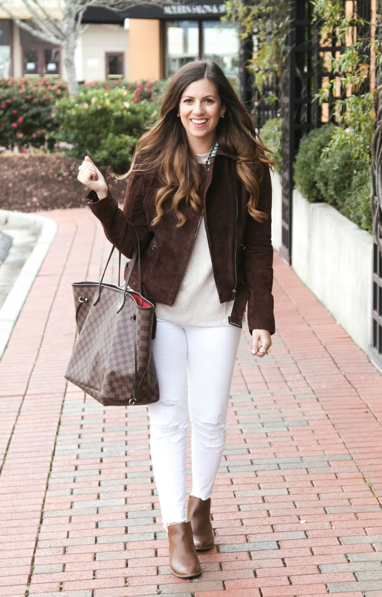 Brown Suede Biker Jacket with White Jeans worn by Jaime Cittadino, Sunflowers and Stilettos fashion and lifestyle blog