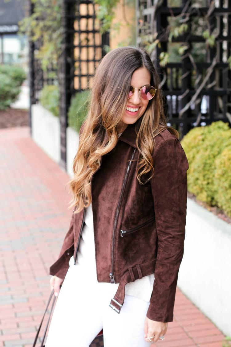 ASOS Brown Suede Moto Jacket worn by fashion blogger, Jaime Cittadino of Sunflowers and Stilettos