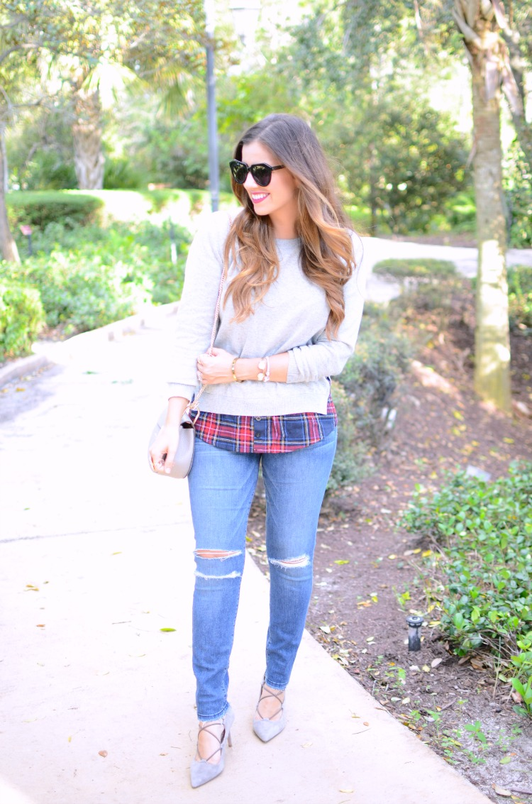 HEATHER GRAY SIDE SLIT CREWNECK RED PLAID SWEATER, Goodnight Macaroon Sweater