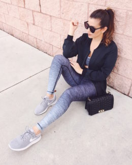 Fashion Blogger, Jaime Cittadino wearing W.I.T.H. Wear It To Heart activewear for a sporty chic look