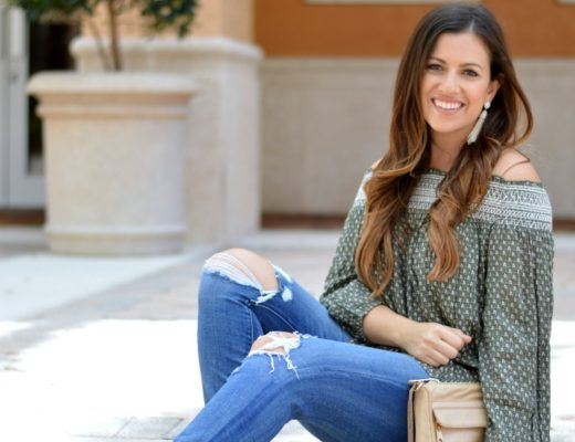 Abercrombie and Fitch olive embroidered off shoulder top worn by Fashion Blogger Jaime Cittadino of Sunflowers and Stilettos