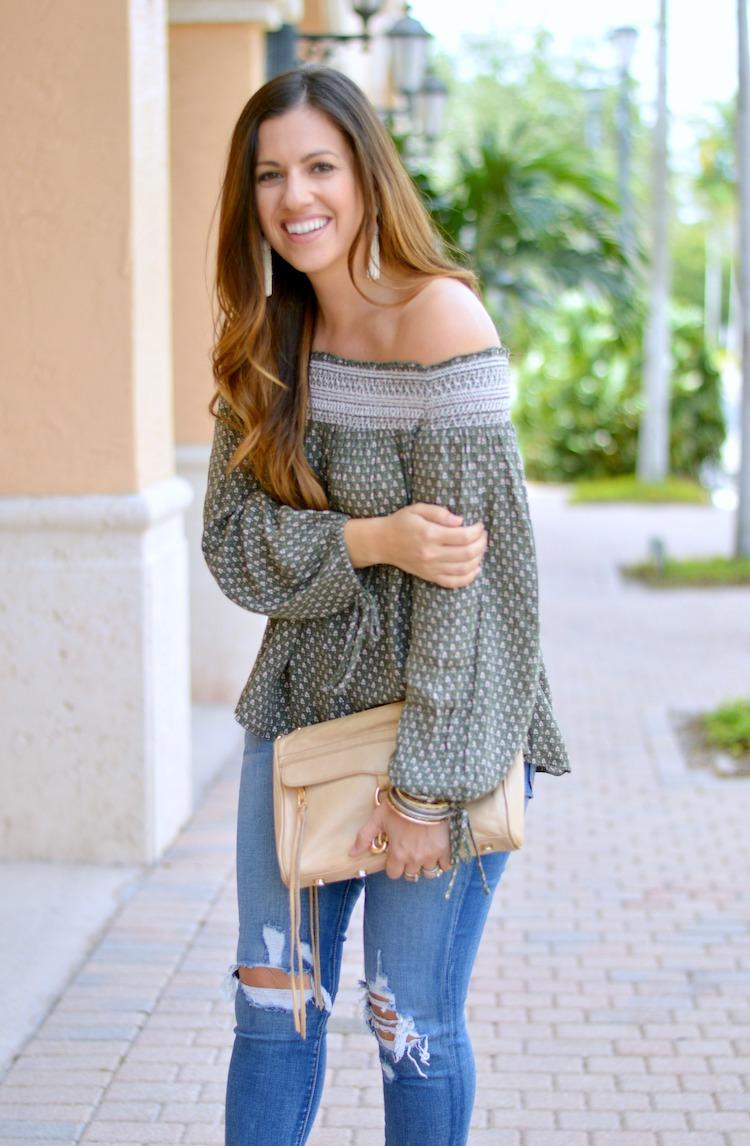 Abercrombie olive off shoulder top, Fashion Blogger Jaime Cittadino, Sunflowers and Stilettos Fashion & Lifestyle blog