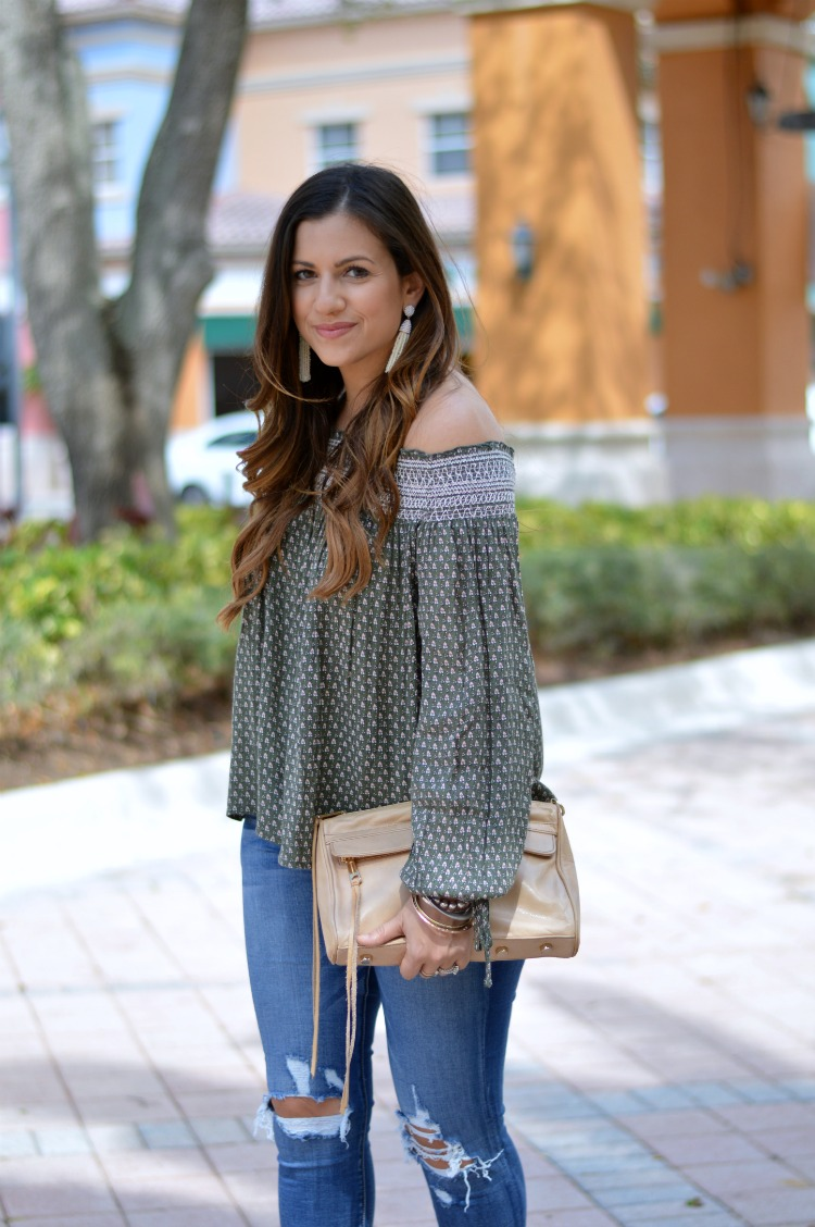 olive off shoulder top worn by Jaime Cittadino of Sunflowers and Stilettos fashion and lifestyle blog
