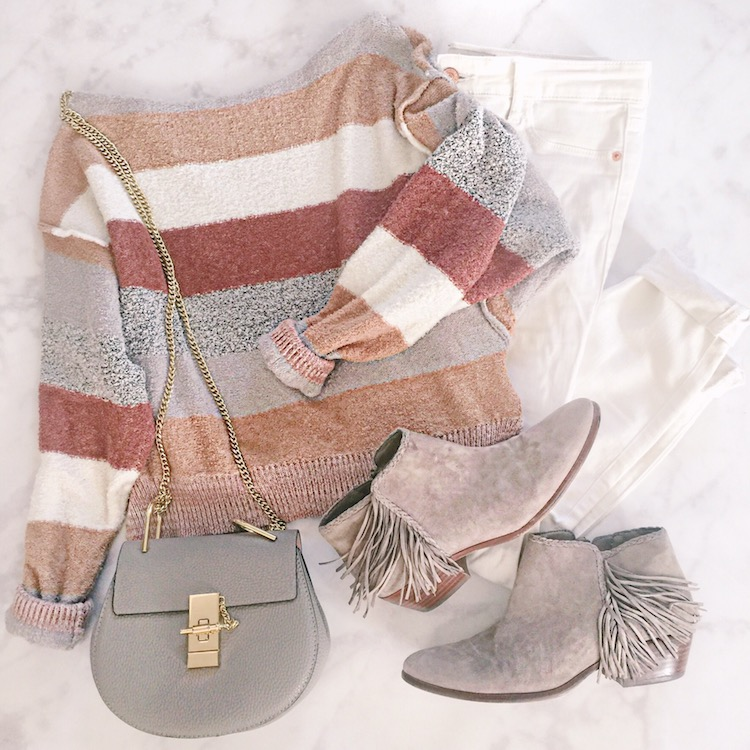Free People striped sweater, best Chloe bag dupe, fringe Sam Edelman booties