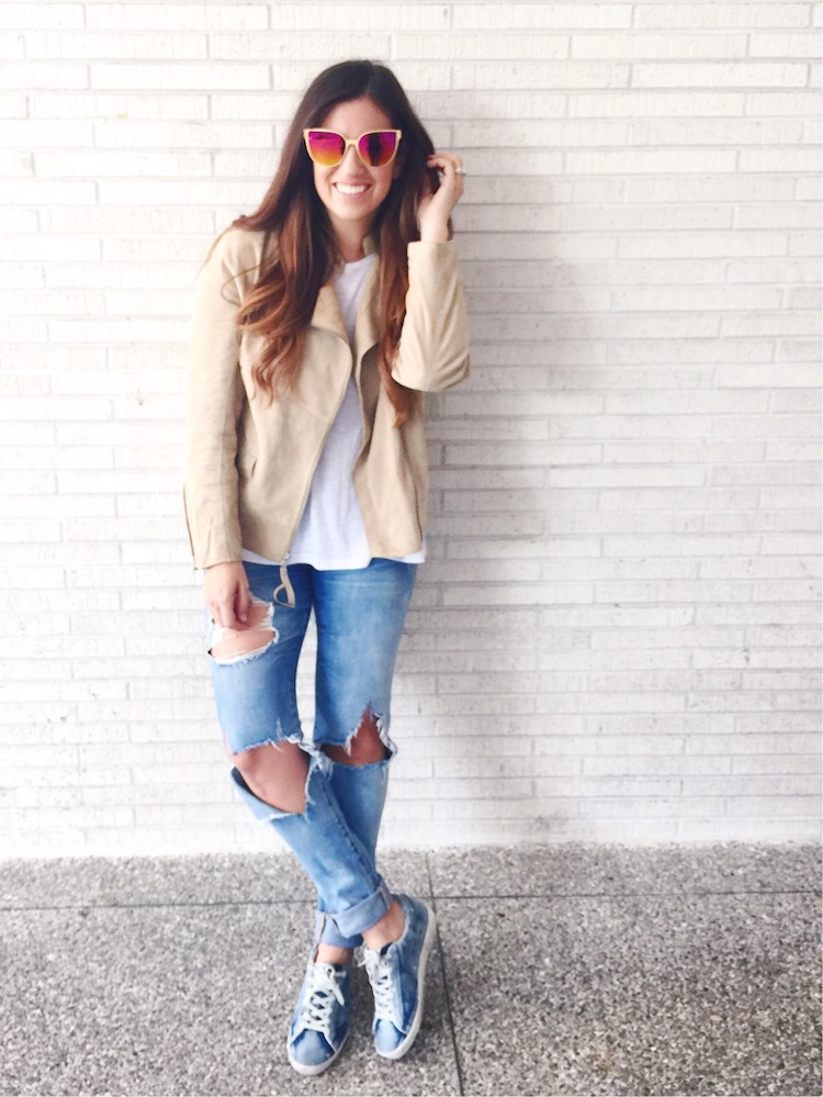 Cream Suede Biker Jacket, Golden Goose Sneakers, Italia Independent Sunglasses