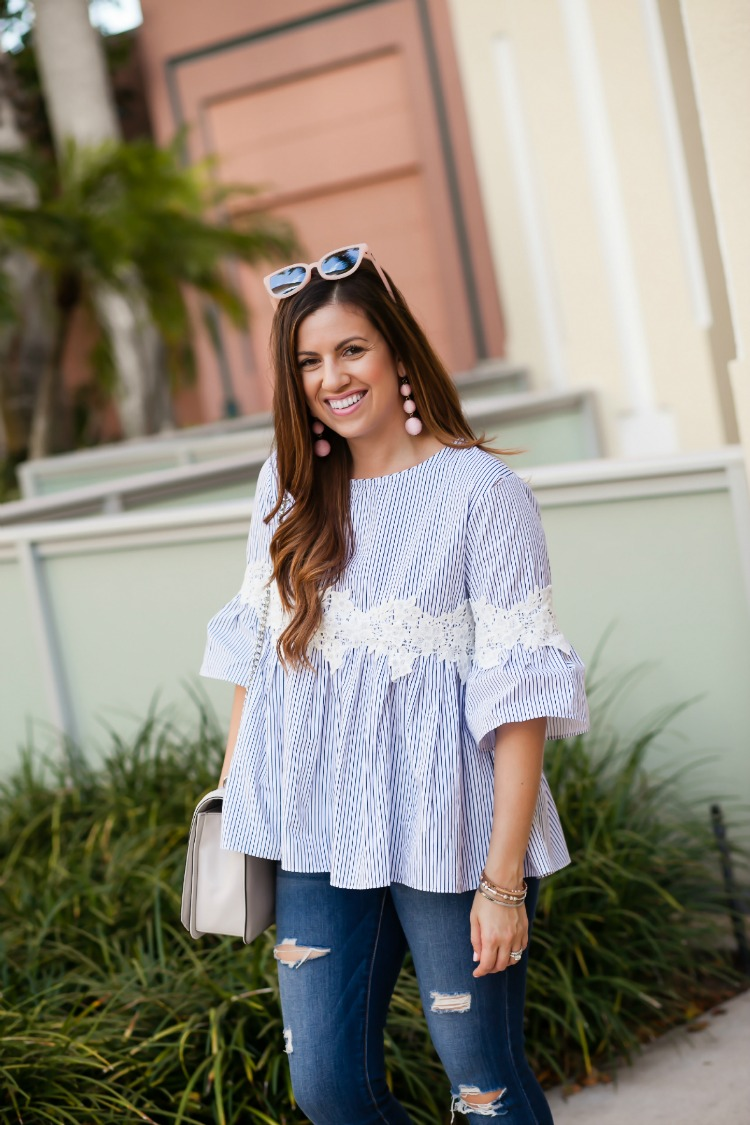 Chicwish Floral on Stripe Dolly Top worn by Fashion blogger Jaime Cittadino