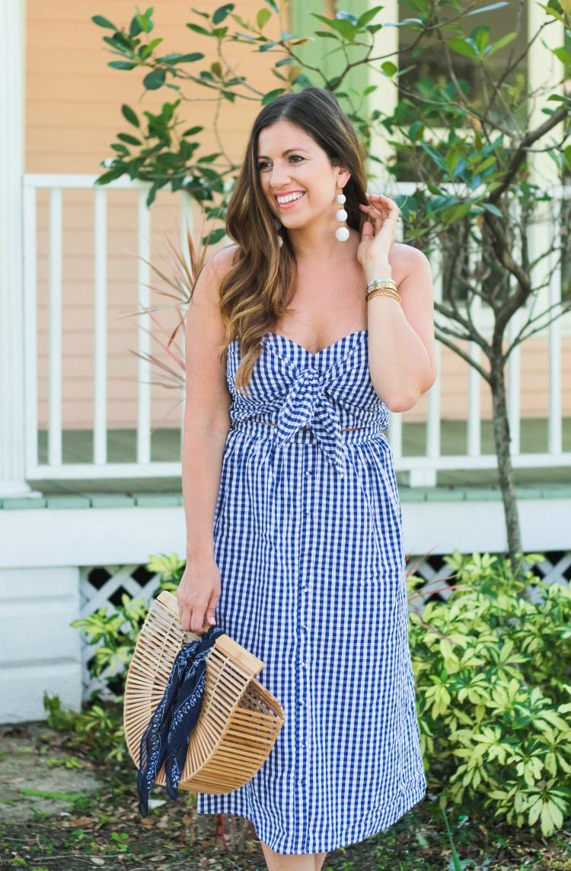 Blue Gingham Midi Dress