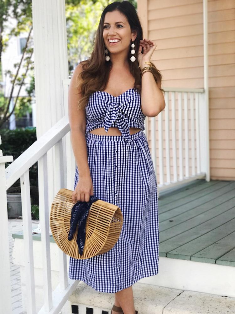 Cutout Midi Dress, Gingham Midi Dress, Tie Front Midi Dress