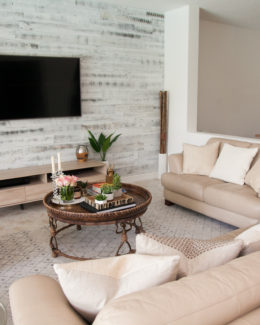 Living Room Decor :: Rustic Chic Living Room :: Family Room Decor Ideas :: Stikwood Accent Wall