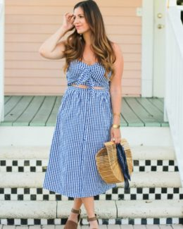 blue gingham midi dress worn by Fashion Blogger, Jaime Cittadino of Sunflowers and Stilettos in Delray Beach, Florida