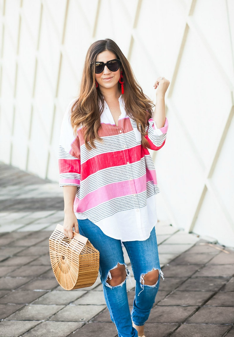 oversize striped button down top _ Anthropologie button down top _ best distressed jeans