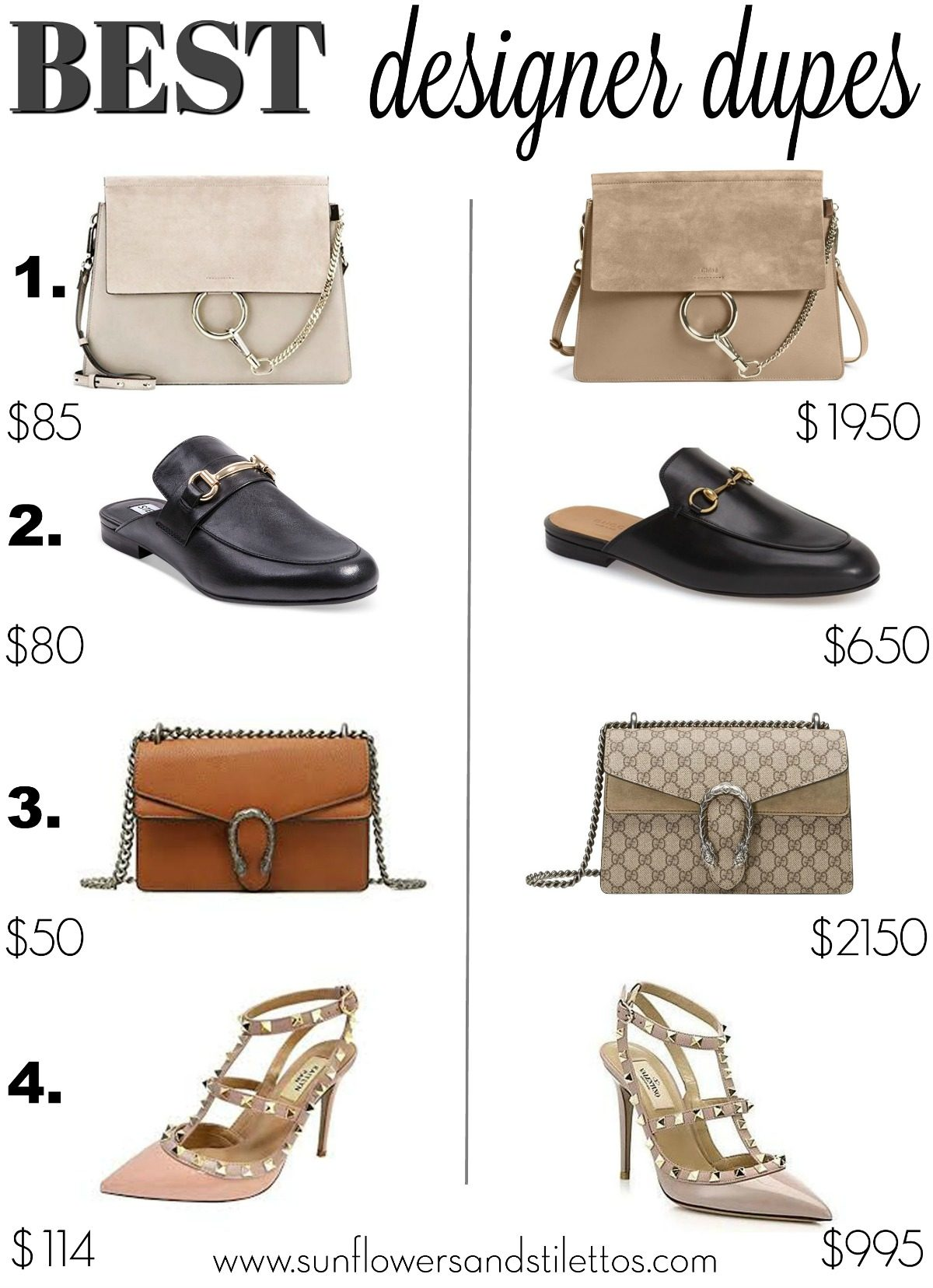 Best Designer Bags, Best Designer Shoes, Rockstud heels, Chloe Bag, Gucci Bag, Gucci Loafer