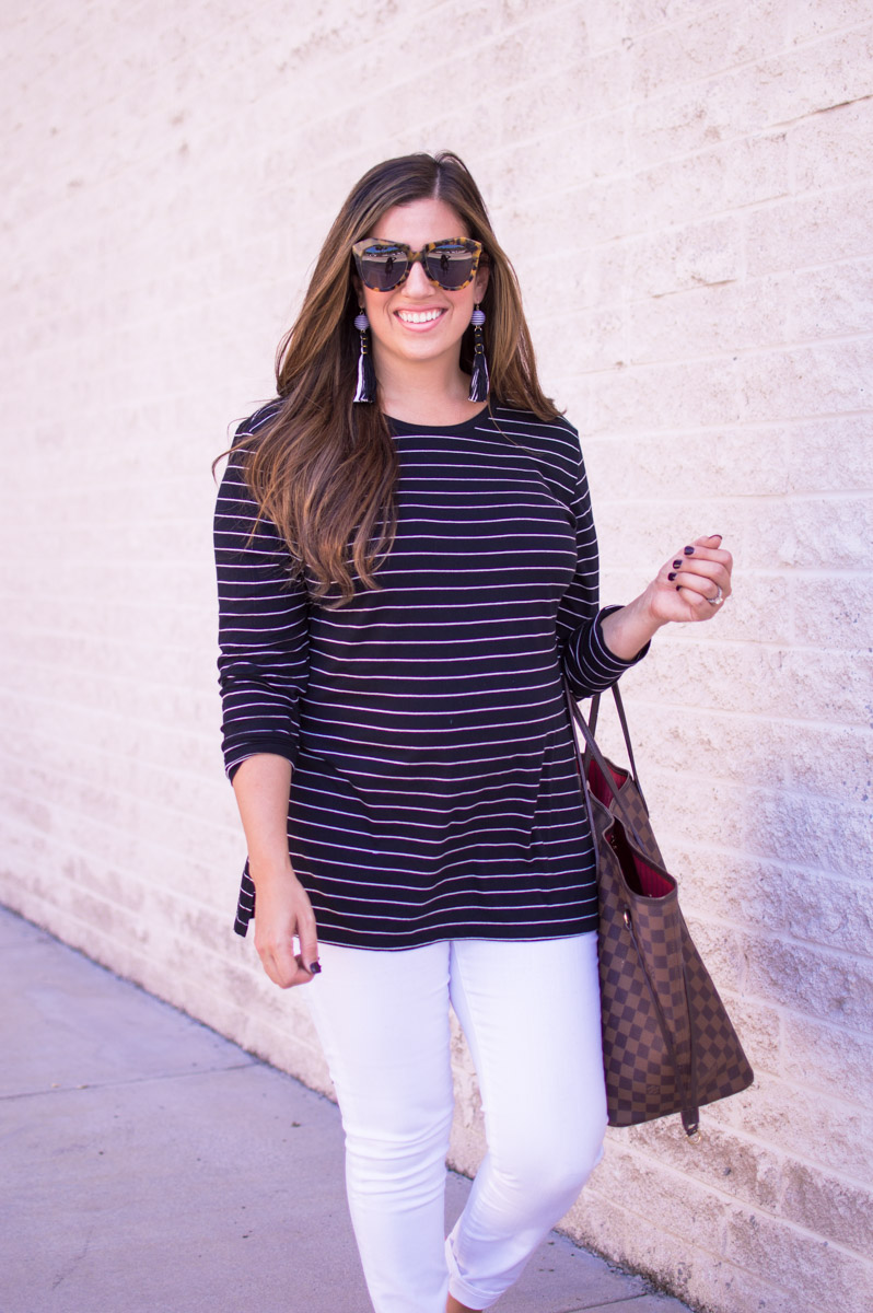 the perfect striped long sleeve top_ Karen Walker Number One Sunglasses_White Jeans after Labor Day_ Louis Vuitton GM Neverfull