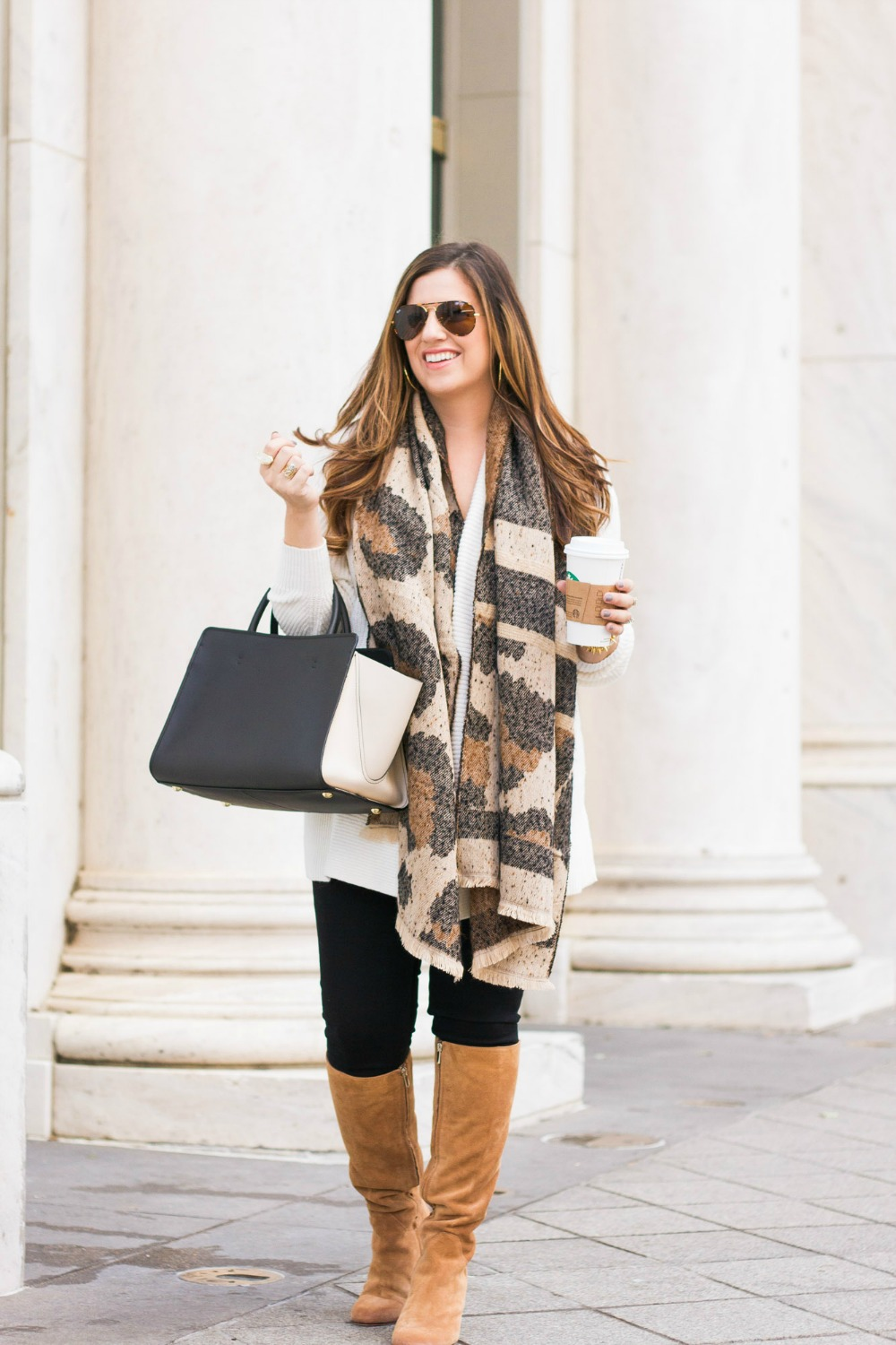 $26 Leopard Scarf, Best Leopard Scarf, Fall Outfit Inspo by Jaime Cittadino of Sunflowers and Stilettos