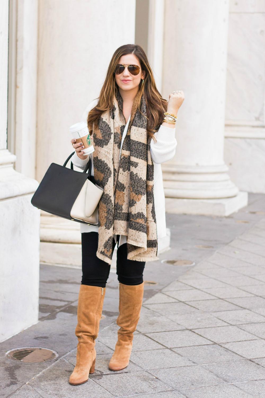 Fall Fashion, leopard scarf, Sunflowers and Stilettos fashion blog