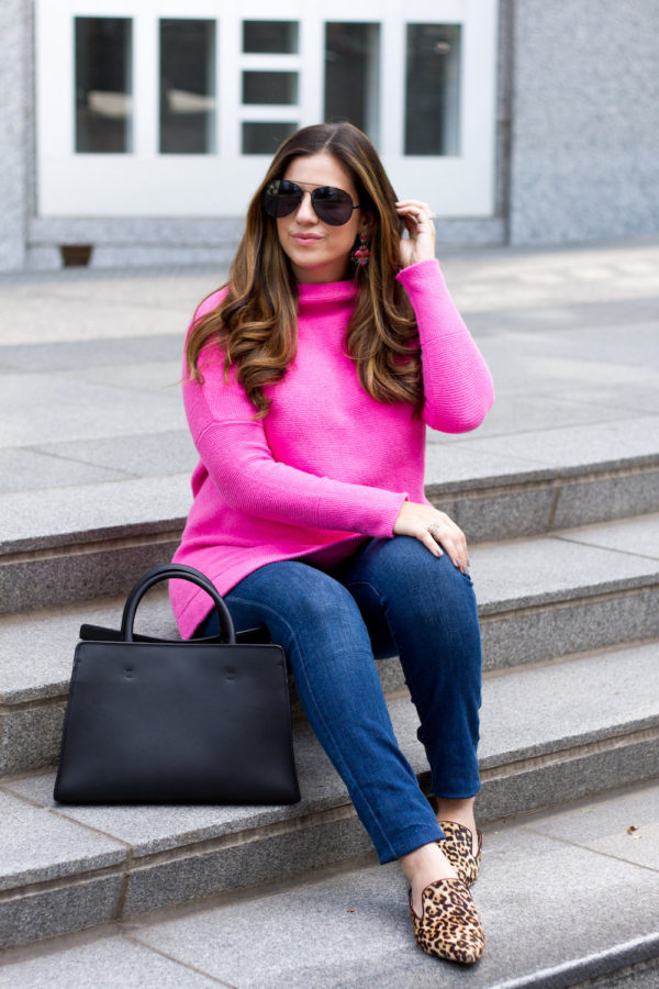 Pink Slouchy Otttoman Tunic Sweater by Free People _ Fashion Blogger Jaime Cittadino of Sunflowers and Stilettos