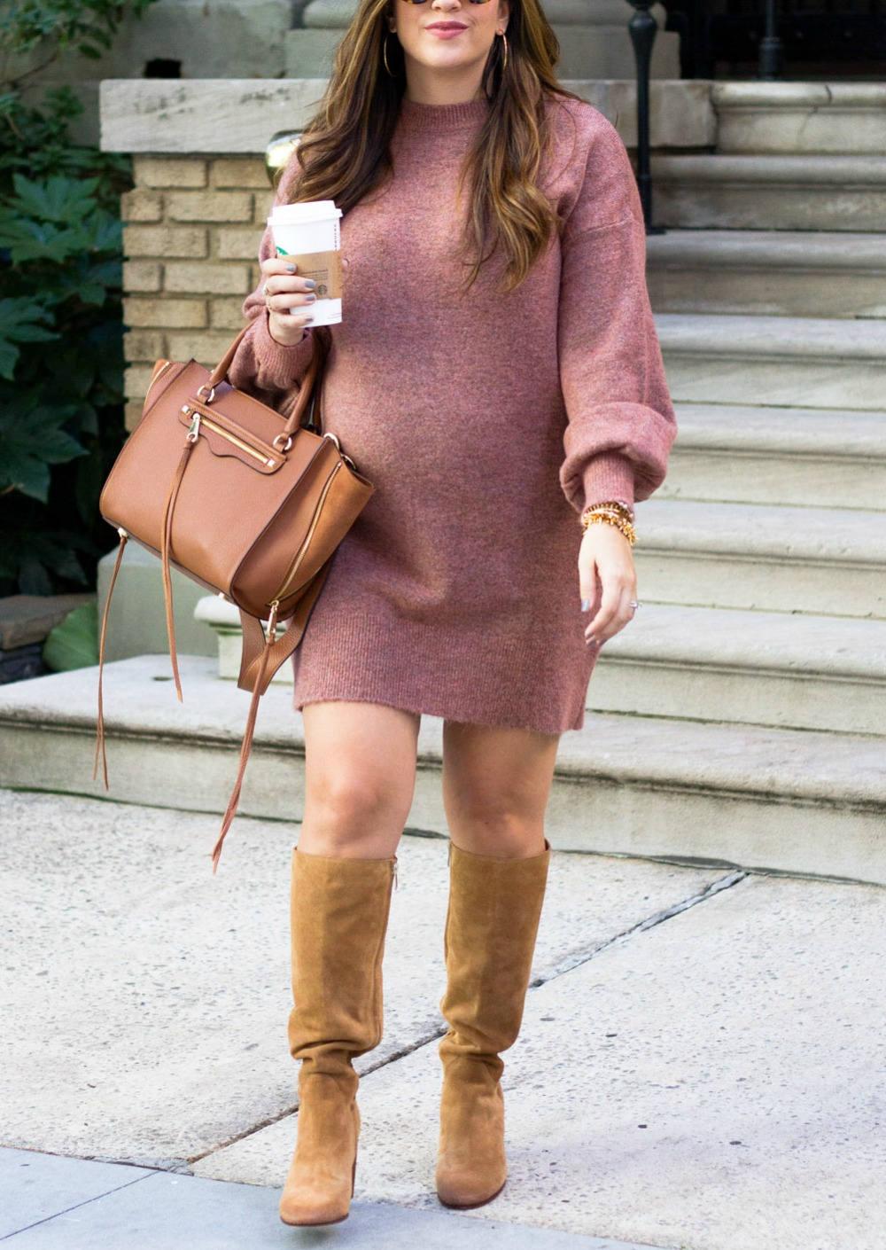 Sweater Dress and High Boots worn by Jaime Cittadino of Sunflowers and Stilettos Fashion Blog