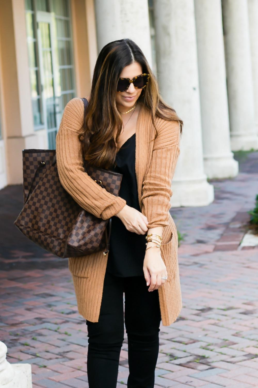camel cardigan, camel and black outfit, Jaime Cittadino Florida Fashion Blogger