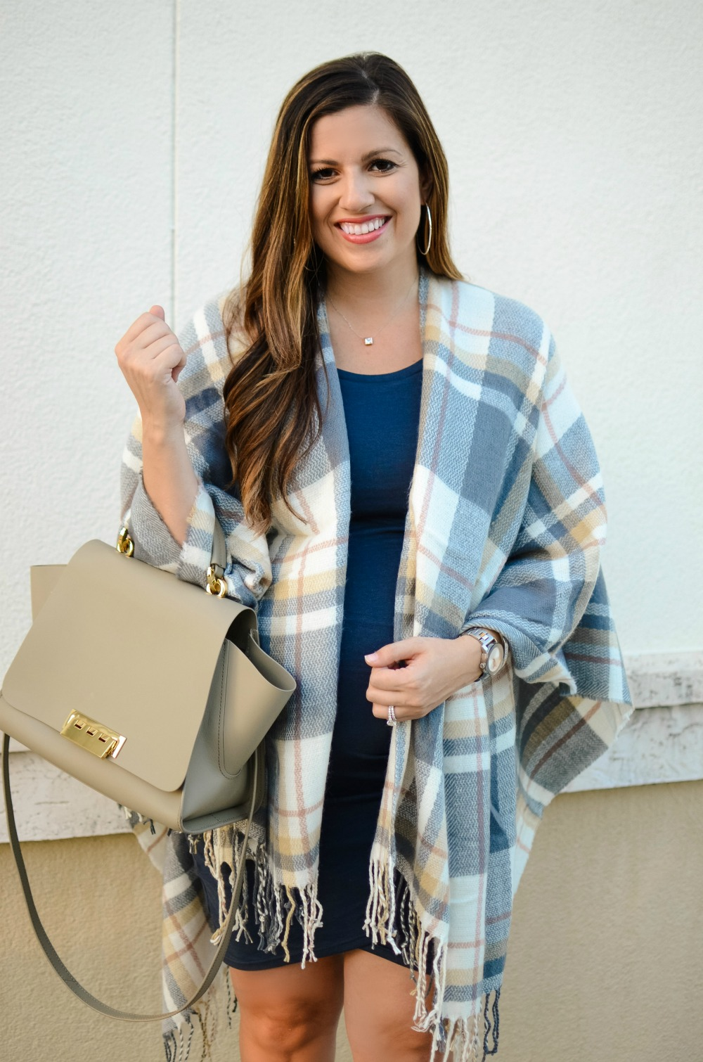 plaid cape, maternity style, plaid blanket scarf, worn by Jaime Cittadino of Sunflowers and Stilettos fashion blog
