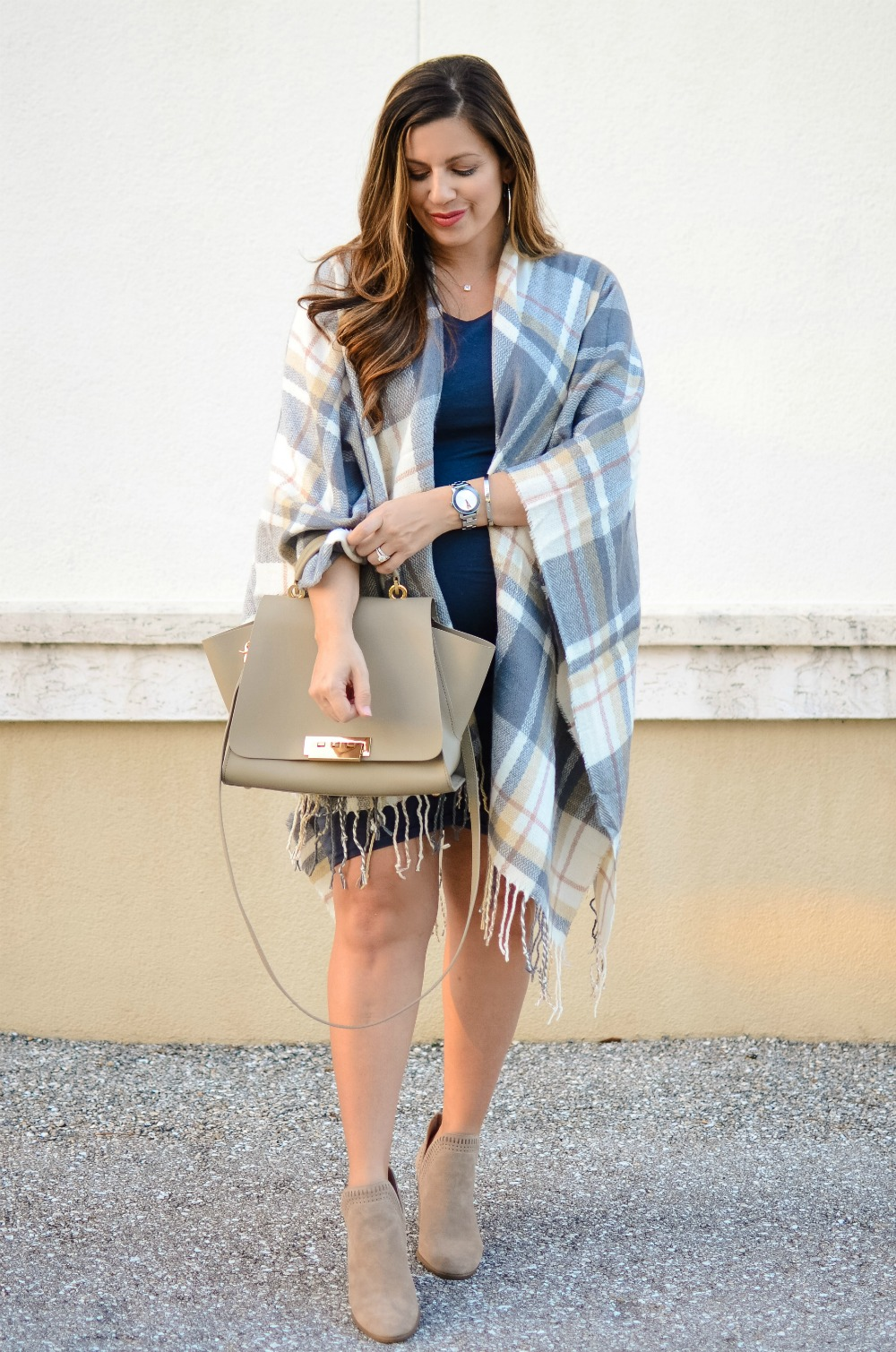 maternity style, Fall Outfit Inspo, Plaid Blanket Scarf, Sunflowers and Stilettos fashion and lifestyle blog by Jaime Cittadino