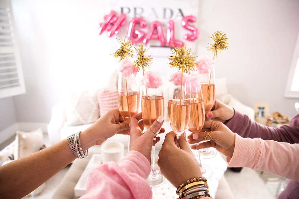 Galentine's Day Rosé with cotton candy, Valentine's Day party