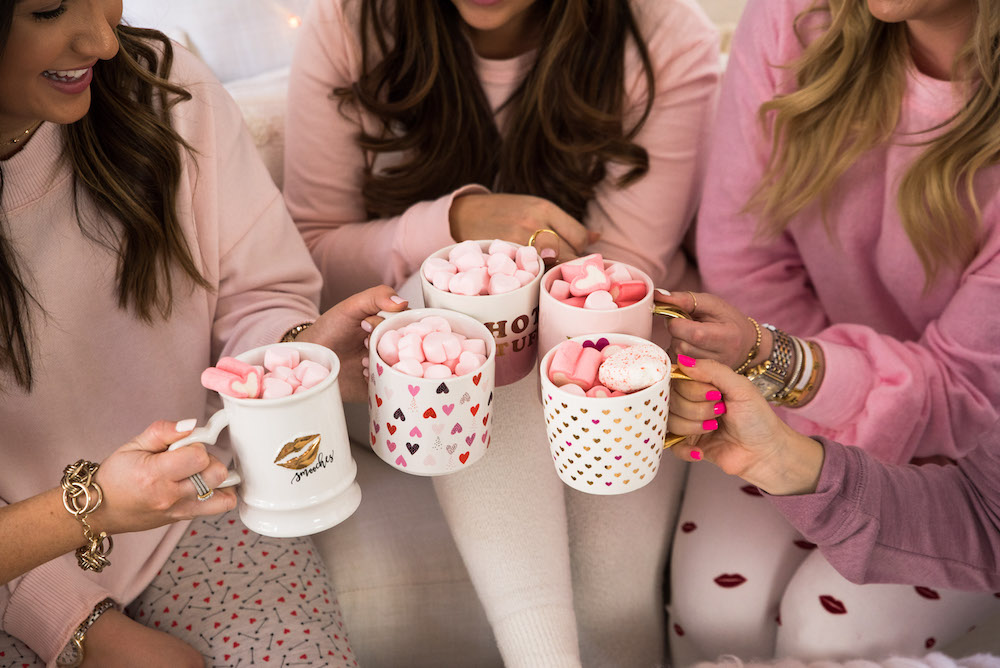 hot cocoa bar cart, Valentine's Day party