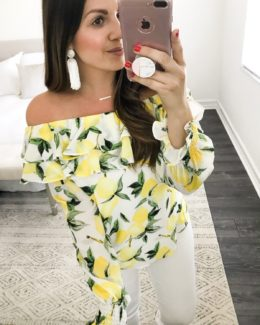 lemon top, off shoulder lemon top, one shoulder lemon top, white tassel earrings