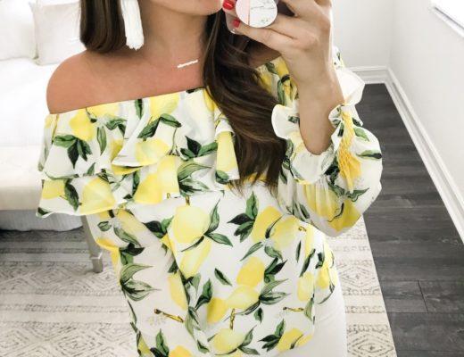 lemon top, off shoulder lemon top, one shoulder lemon top, white tassel earrings