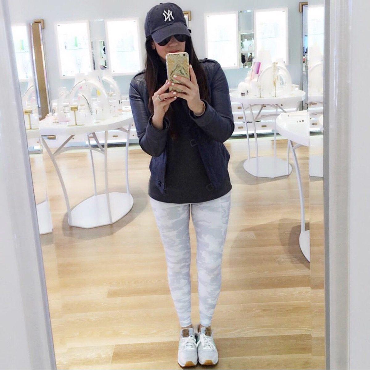 white camo leggings, cute athleisure style, Sunflowers and Stilettos blog by Jaime Cittadino