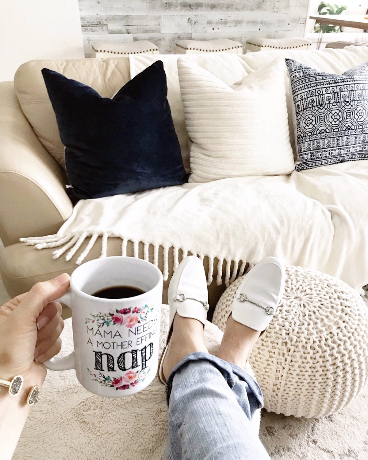 Gucci loafer dupes, white loafer mules, funny mom mug, ivory knit pouf, custom pillows