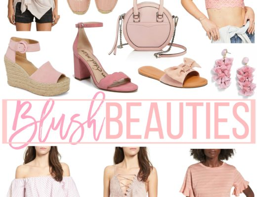 blush pink tops, blush pink earrings, blush pink shoes, blush beauties by Jaime Cittadino of Sunflowers and Stilettos blog