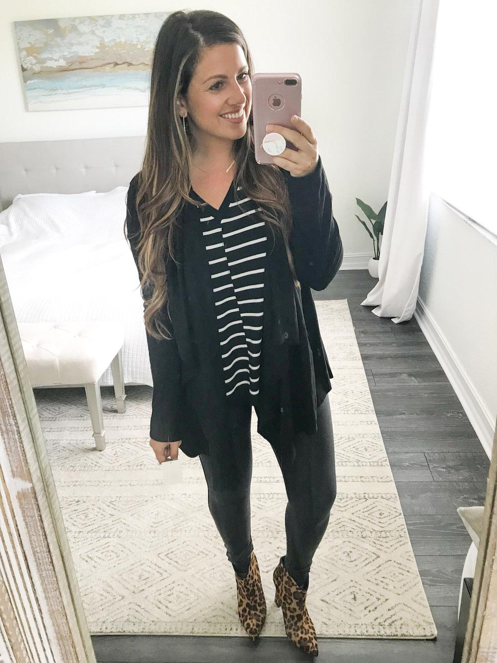 calson stripe top, blanknyc jacket, spanx leggings