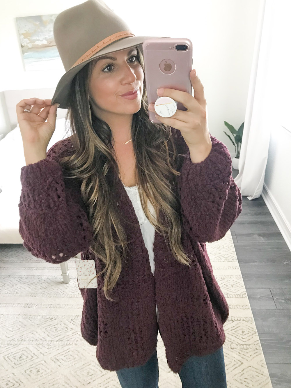 free people saturday morning cardigan, free people busted knees denim, rag and bone fedora