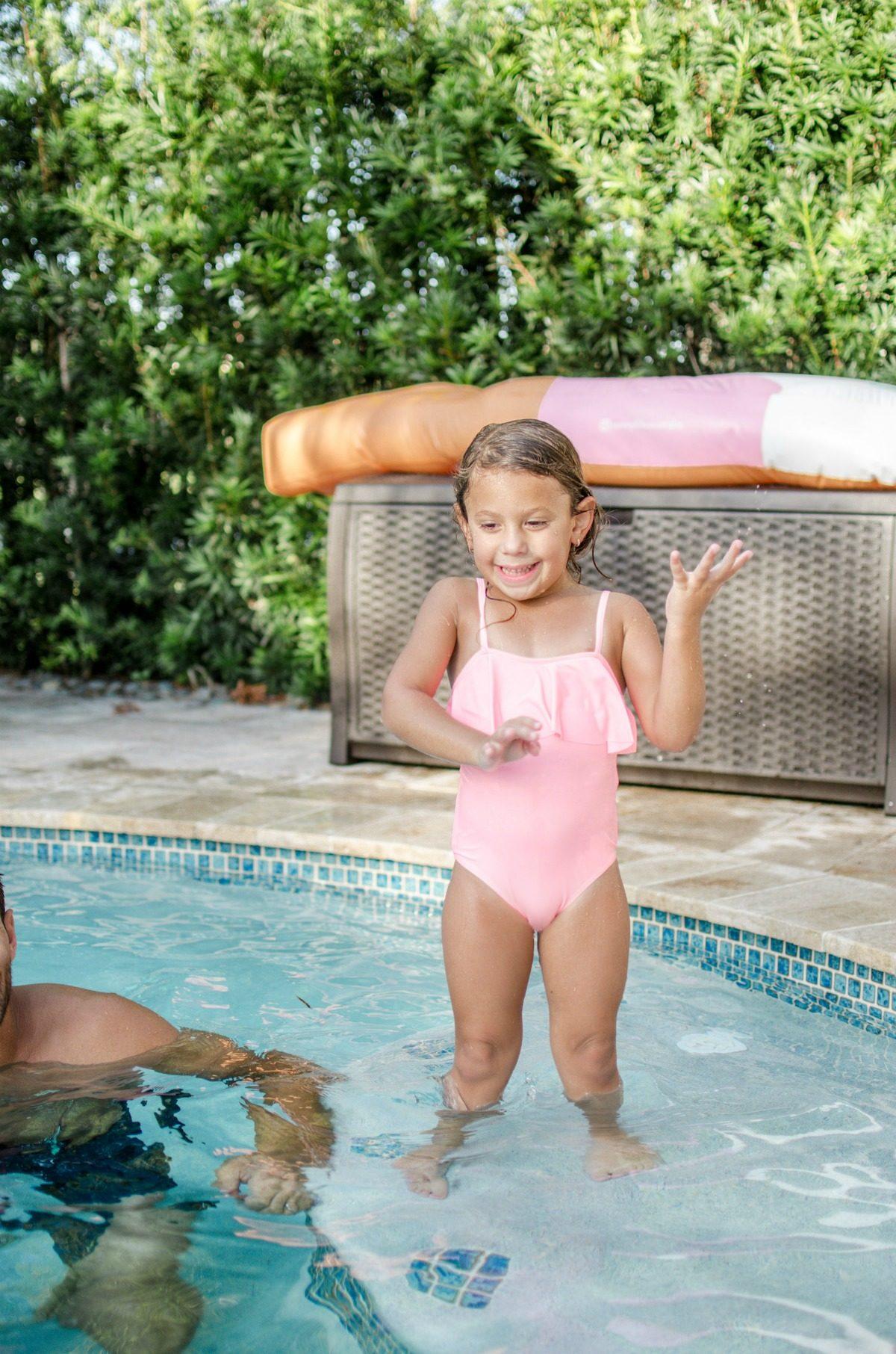 pink ruffle swimsuit, toddler girl ruffle swimsuit
